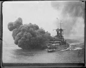 Battleship firing broadside