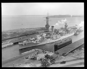 USS Wyoming in South Boston drydock