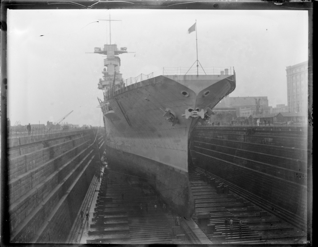 Aircraft carrier in dry dock