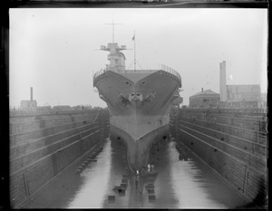 USN aircraft carrier in dry dock