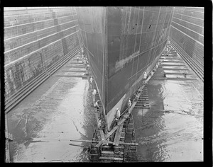 Painting monster hull of SS George Washington new drydock - South Boston