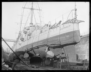 USS Detroit in Navy Yard drydock