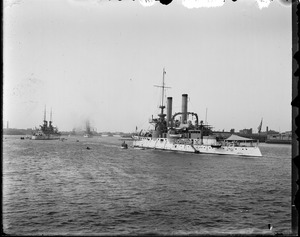 "US Navy ships in Boston Harbor during Spanish-American War. ""Iowa''."