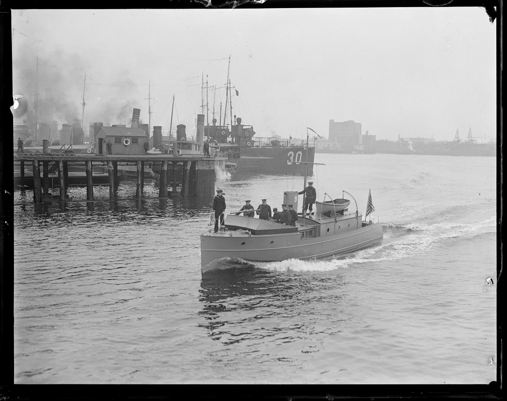 Harbor Patrol Boat (sub chaser) guarding Charlestown Navy Yard since war with Germany was declared