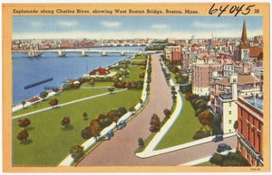 Esplanade along Charles River, showing West Boston Bridge, Boston, Mass.