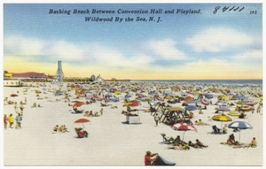 Bathing beach between convention hall and Playland, Wildwood by the Sea, N. J.