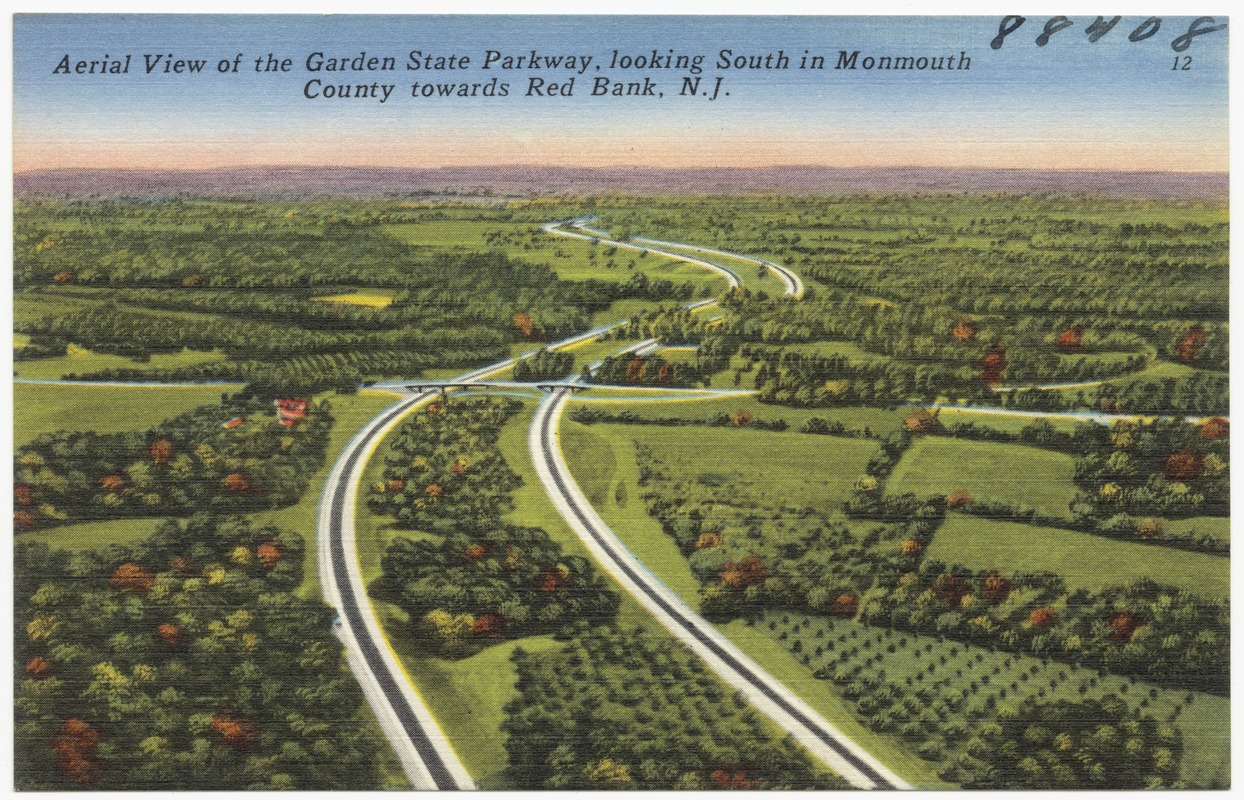 Aerial view of the Garden State Parkway, looking south in Monmouth County toward Red Bank, N. J.
