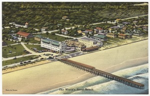 Air view of Atlantic Beach showing Atlantic Beach Hotel and fishing pier, Atlantic Beach, Florida