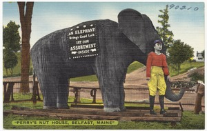 """""""Perry's Nut House, Belfast, Maine"""" -- an elephant brings good luck, see our assortment inside"""