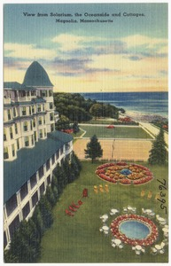 View from solarium, the Oceanside and Cottages, Magnolia, Massachusetts