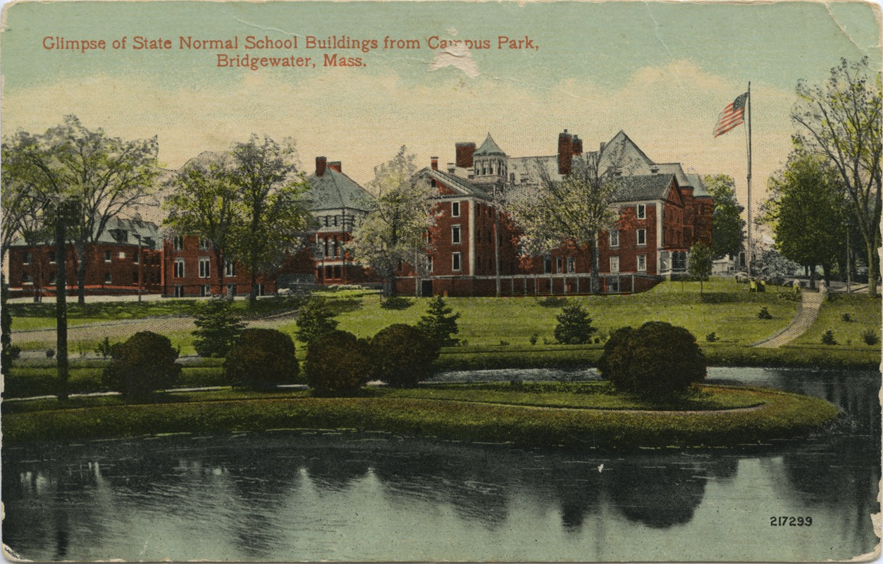 Glimpse of State Normal School buildings from campus park, Bridgewater, Mass.