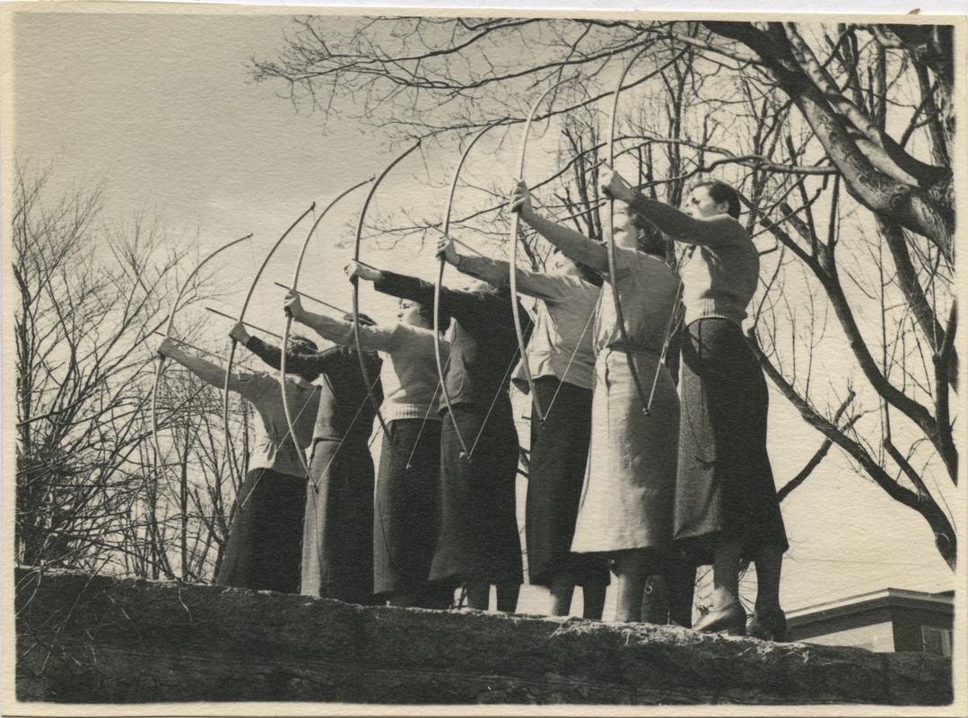 Archery practice, State Teachers College at Bridgewater