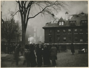 Campus fire - Tillinghast Hall in flames, December 10, 1924