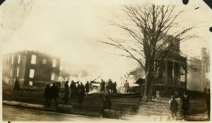 "Campus fire - ""The Cottage"" (Old Woodward Hall) in flames, December 10, 1924"