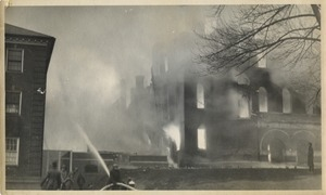 Campus fire - Normal School Building in flames, December 10, 1924