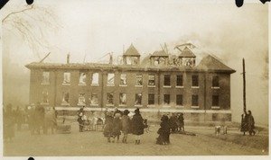 Campus fire - Tillinghast Hall after roof has collapsed, December 10, 1924