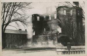 Campus fire – smoke rising from the remains of the Normal School Building, December 10, 1924