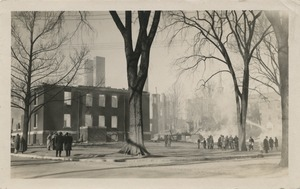 Campus fire –smoke rising from campus buildings as the fire is brought under control, December 10, 1924
