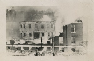 Campus fire - smoke rising from the remains of Tillinghast Hall, December 10, 1924
