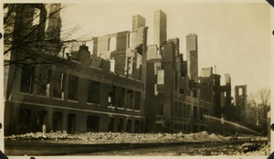 Campus fire –remains of the Normal School Building after the fire, December 1924