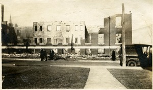 Campus fire - remains of Tillinghast Hall after the fire, December 1924