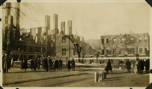 Campus fire –remains of campus buildings after the fire, December 1924