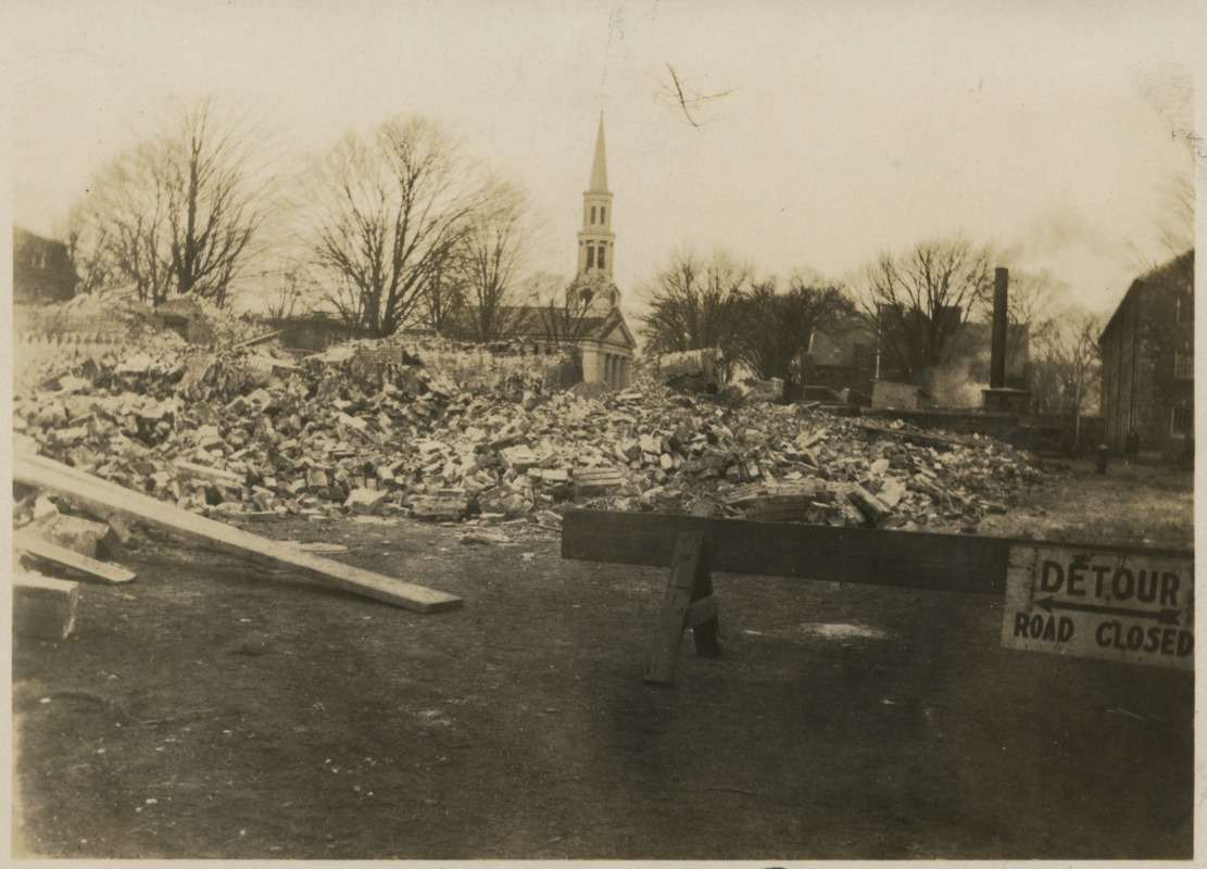 Campus fire – bricks and other debris after the fire, December 1924