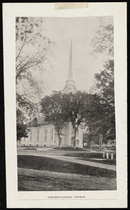 Congregational Church depicting park before land used for parking by town