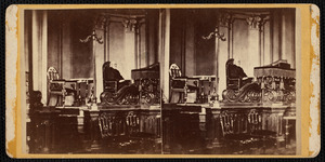 Dr. Nahum Gale in pulpit of Lee Congregational Church, 1870