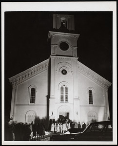Congregational Church night photo of a service