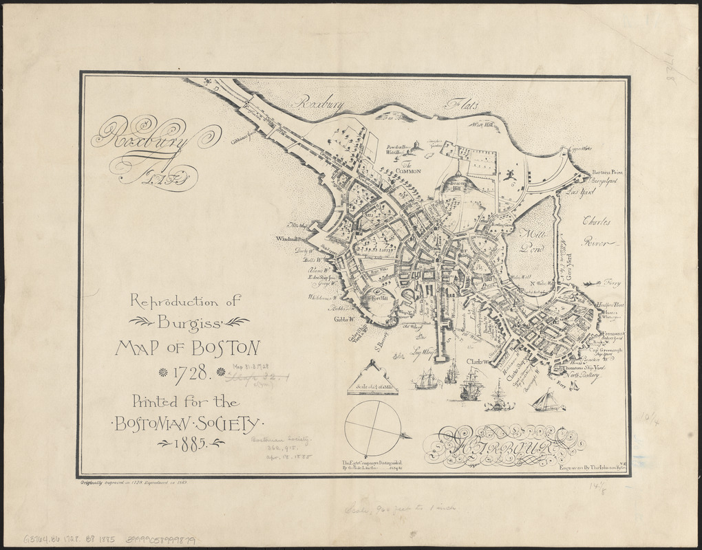 Reproduction of Burgiss' map of Boston, 1728