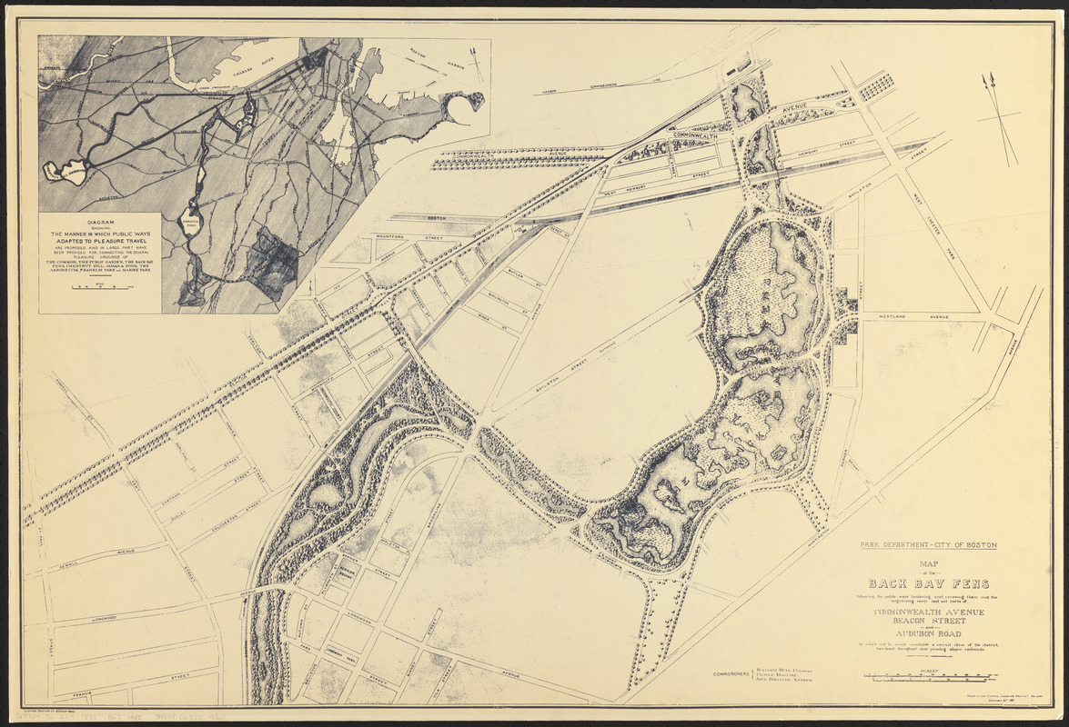 Map of the Back Bay Fens showing the public ways bordering and crossing them and the neighboring newly laid out parts of Commonwealth Avenue, Beacon Street, and Audubon Road, by which will be made available a circuit drive of the district, tree-lined throughout and passing above railroads