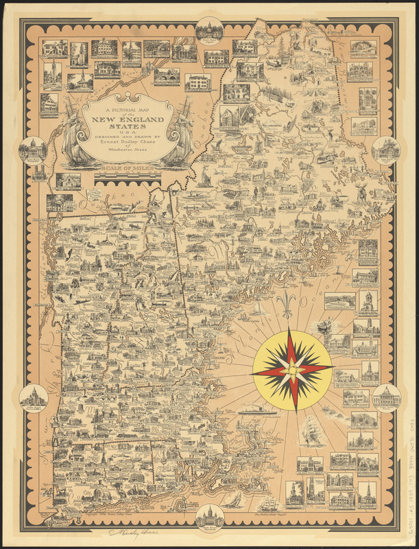 A pictorial map of the New England states U.S.A.
