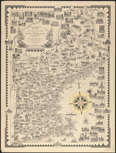 Limited edition, 500 only of a pictorial map covering the New England States U.S.A