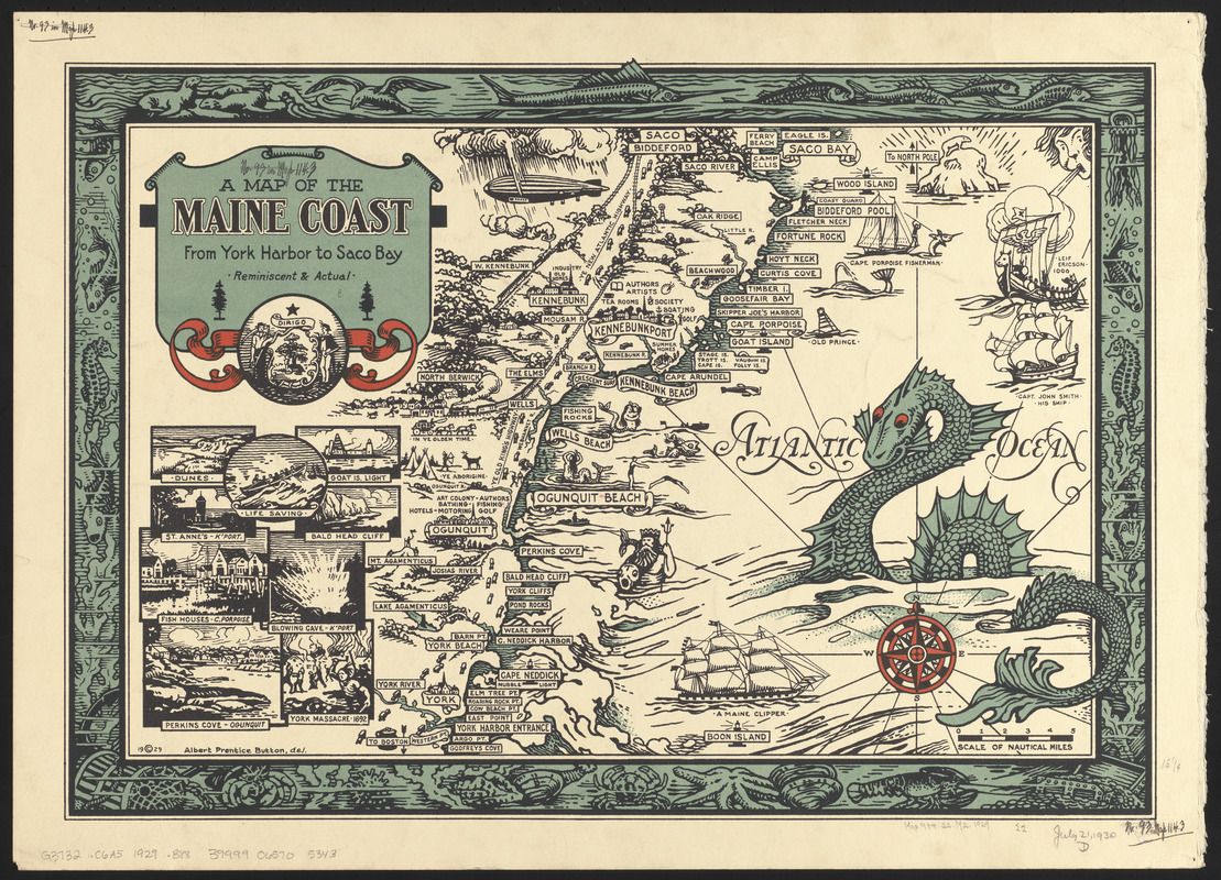 A Map Of The Maine Coast From York Harbor To Saco Bay Digital