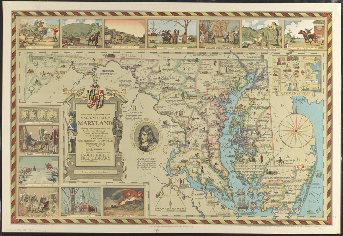 An historical and literary map of the Old Line State of Maryland