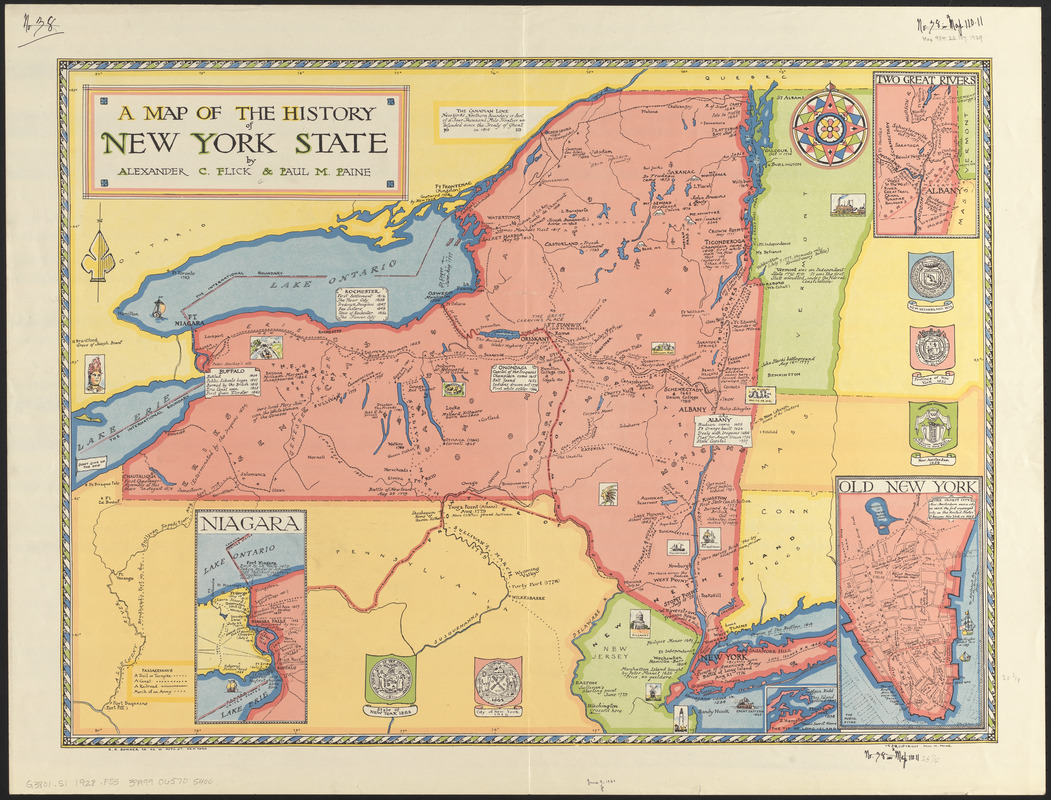 State Map Of New York.A Map Of The History Of New York State Norman B Leventhal Map