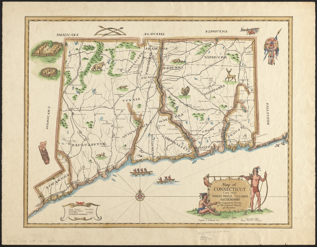 Map of Connecticut, circa 1625, Indian trails, villages, sachemdoms