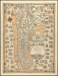 A pictorial map of that portion of New York City known as Manhattan, also showing parts of the Bronx
