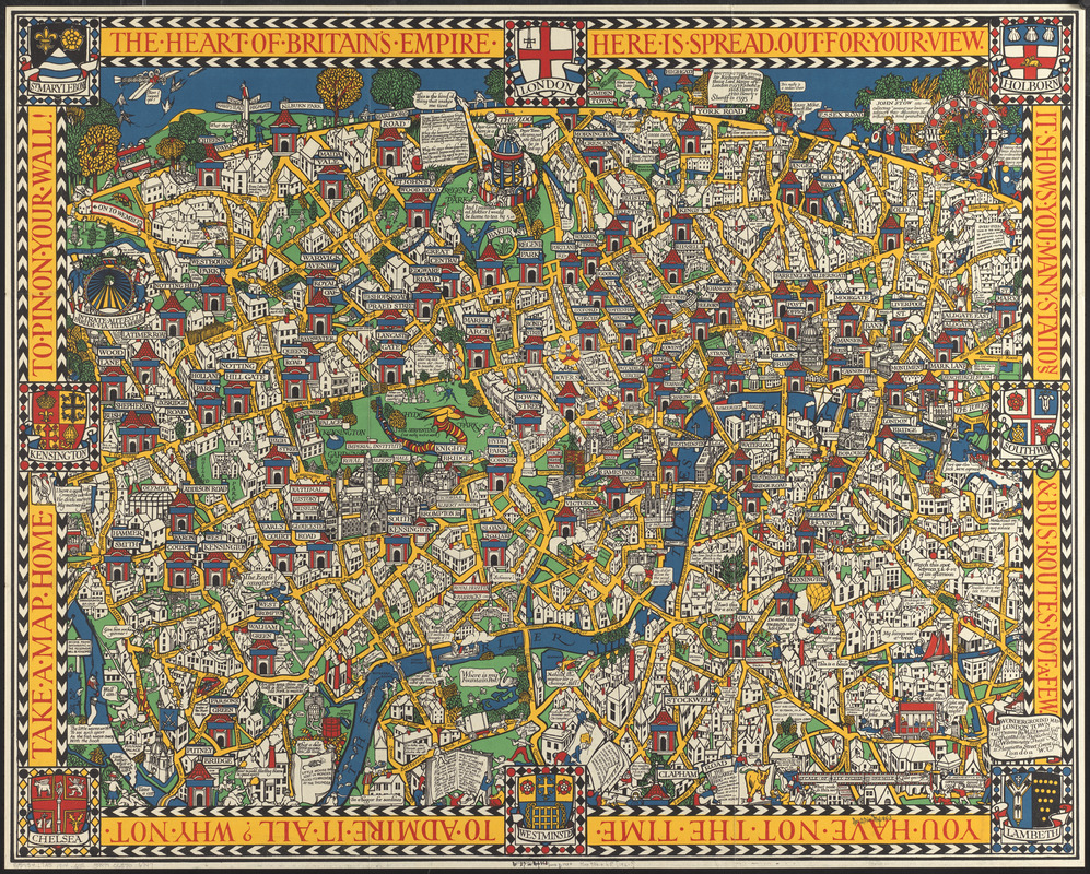 London Town Map.The Wonderground Map Of London Town Norman B Leventhal Map