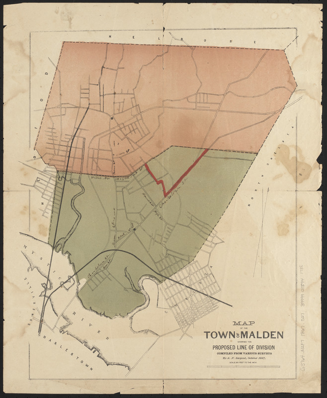 Map of the town of Malden showing the proposed line of division