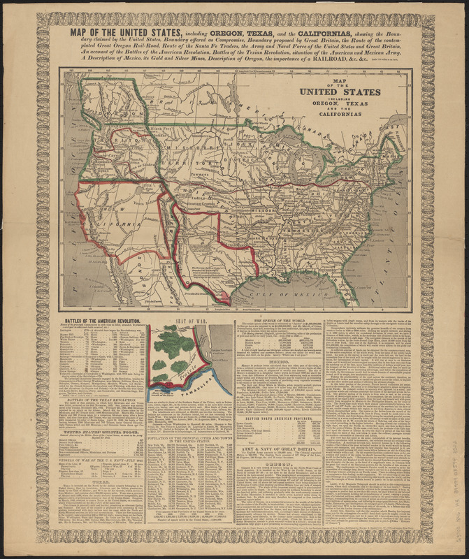 Map of the United States including Oregon, Texas and the Californias