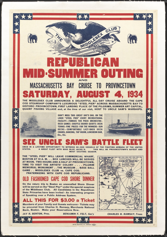 Republican mid-summer outing and Massachusetts Bay Cruise to Provincetown Saturday, August 4, 1934