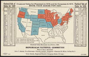 Electoral votes for President in 1916 and for Congress in 1918