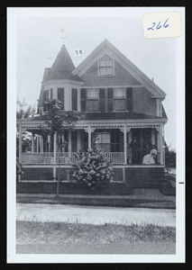 Frank Small house, R.R. Avenue, South Hamilton, family gathering on piazza