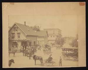 The Centennial Parade, June 21, 1893, view from upstairs in R.R. station of Depot Square and R.R. Ave.