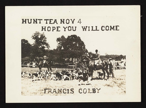 Hunt Tea Nov. 4, hope you will come, Francis Colby