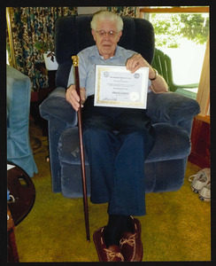 Albert D. Coonrod, dob July 27, 1916, presented Boston Post Cane, August 23, 2011, at age 95