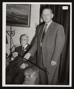 Charles Peterson, 92, presented the Boston Post Cane by Francis Whipple, town clerk