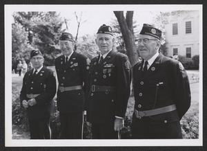 1975 Memorial Day at Town Hall, four soldiers of democracy, Kerwin Harding, Hap Daley, Gordon Allen, Bob Chittick